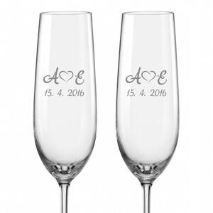 Svatební skleničky na sekt Monogramy se srdíčky, 2 ks