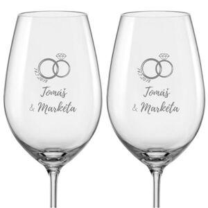 Svatební skleničky na víno PRSTÝNEK S DRAHOKAMEM, 2 ks