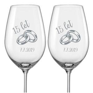 Sklenice na víno k výročí Prstýnky, 2 ks