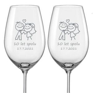 Sklenice na víno k výročí Šťastní manželé, 2 ks