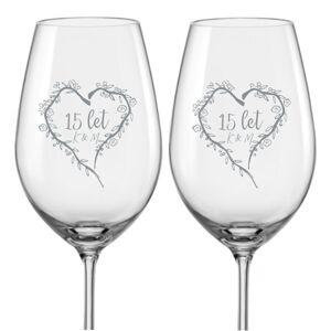 Sklenice na víno k výročí Srdce z větviček, 2 ks