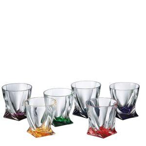 Crystalite Bohemia Barevné sklenice Quadro 340 ml, 6 ks