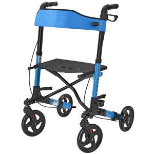 Hliníkové chodítko Rollator Vital, černé, s plochou na sezení a modrou nákupní taškou