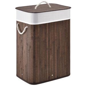 Bambusový koš na prádlo Curly 72 litrový, hnědý s pytlem na prádlo a s oušky pro přenášení, 300342