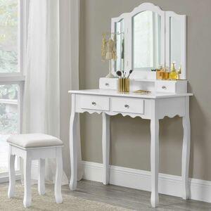 """Toaletní stolek """"Emma"""" bílý se zrcadlem a židličkou"""