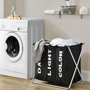 Koš na prádlo W3S se 3 přihrádkami z hliníku v černé barvě